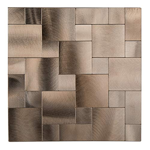 - Decopus Peel and Stick Aluminum Tile Backsplash (Goldish Copper Brushed Mixed Square IS50) for Kitchen Bathroom, Metal Tiles, Wall Accents (5pcs, 12in x 12in)