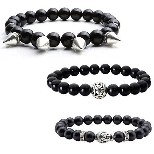 Jovivi 3 Pcs 8mm Unisexe Bracelets d'énergie Tibétain Chakras Pierres Perles Extensible, Agate Noir Naturelle, Tête Argent de Buddha Lama / Perle Boule Cisele / Rivets