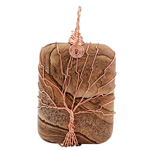 SUNYIK Picture Jasper Oblong Tree of Life Pendant Necklace,Handmade Copper Wire Wrapped - Oblong Picture Shape