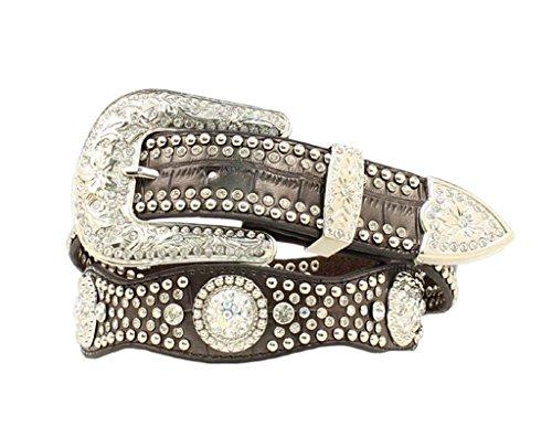 Nocona Women's Rhinestone Embellished Croc Print Leather Belt Black Small