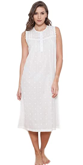 Cottonreal Novia 100% Ivory ~ Cream Cotton Polka Dot Sleeveless Nightdress  (XS UK 8 02475c471