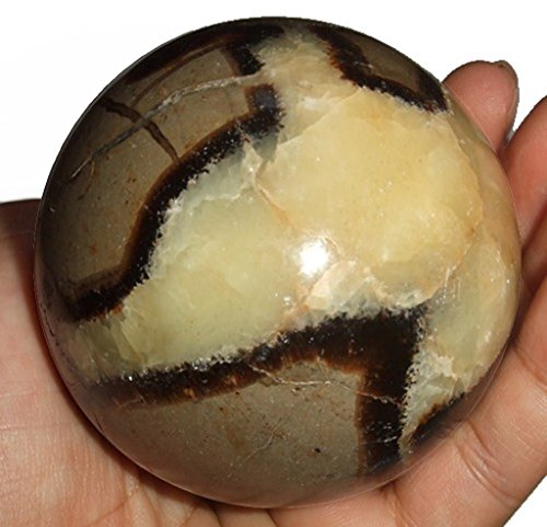 Septarian Ball 02 Custard Yellow Brown Crystal Sphere