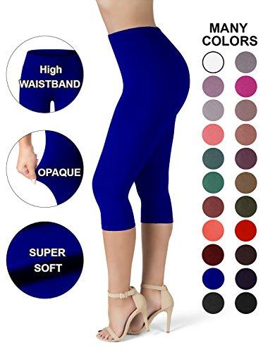 SATINA High Waisted Ultra Soft Capris Leggings - 20 Colors - Reg & Plus Size (Plus Size, Royal Blue)