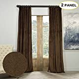 Artdix Blackout Curtains Panels Window Drapes – Java 72W x 102L Inches (2 Panels) Velvet Lined Back Tab Nursery Insulated Solid Thermal Custom Curtains For Bedroom, Living Room, Kids Room