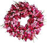 Pink Medley Tulip Spring Door Wreath 19 Inch