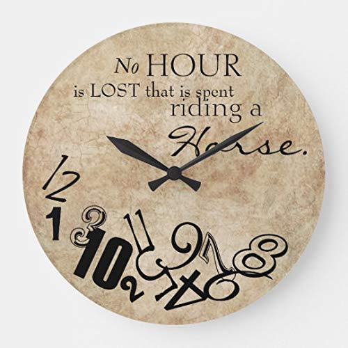 Moonluna Rustic No Hour is Lost Riding A Horse Large Wall Clock for Kitchen Bedroom Living Room Home Office Decor 16 Inches ()
