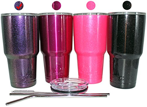 EPIC Sparkled Tumbler Stainless Steel Vacuum Insulated USA Custom Powder Coated Cup and Coffee Mug with 2 Lids and 2 Stainless Steel Straws, 30 oz - Purple Sparkle Tumbler