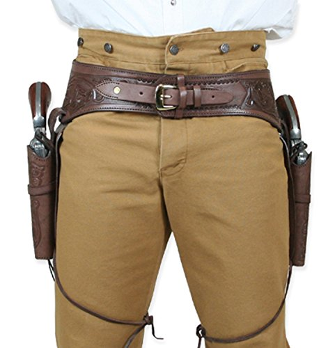 Historical Emporium Men's Double Tooled Leather Western Gun Belt and Holster .44/.45 Cal 44 Chocolate ()