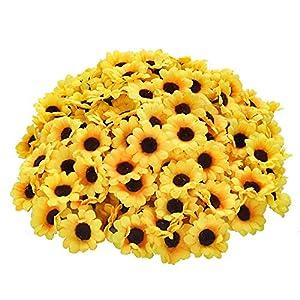 "CEWOR 200pcs Artificial Yellow Sunflower Head 1.8"" Silk Sunflower Fabric Artificial Flowers for Baby Shower Wedding Decoration Bridal Bouquet DIY Handicrafts 11"