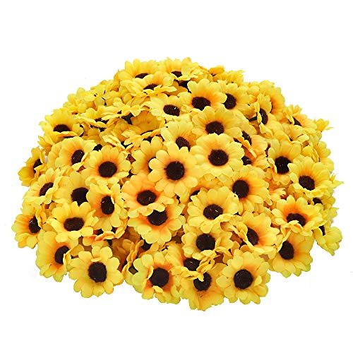 CEWOR 200pcs Artificial Yellow Sunflower Head 1.8