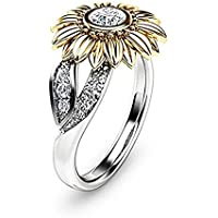siamsmilethailandshop Women Men Sunflower 925 Silver Ring 1.38 Ct White Topaz Wedding Gift Ring Sz6-10 (8)