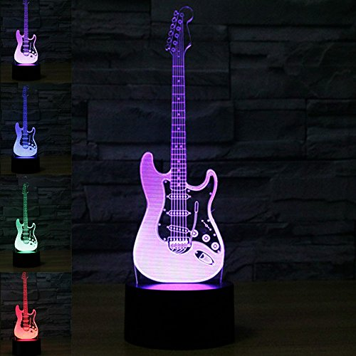 New 3D Electric Guitar Night Light Touch Switch Decor Table Desk Optical Illusion Lamps 7 Color Changing Lights LED Table Lamp Xmas Home Love Brithday Children Kids Decor Toy Gift