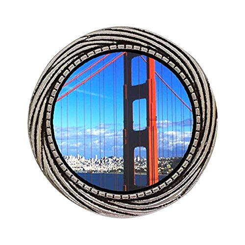 Winding Gate (GiftJewelryShop Ancient Style Silver Plate Travel Golden Gate Bridge Winding Pattern Pins Brooch)