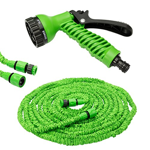 Lightweight 100ft Magic Garden Hose Pipe + Tap Connector + Multifunction Spray Nozzle (Green, 100 foot)
