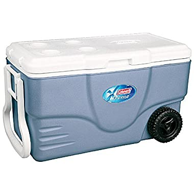 NEW COLEMAN Camping Tailgating 62 Quart Xtreme 5 Wheeled Ice Chest Cooler - Blue