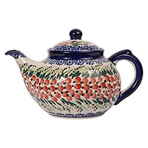Traditional Polish Pottery, Handcrafted Ceramic 7-Cup Teapot with Lid (1350ml), Boleslawiec Style Pattern, H.101.Cranberry