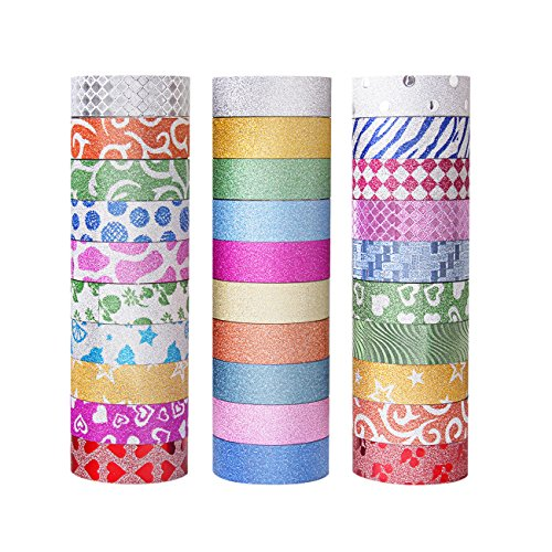 Washi Tape Set of 30 Rolls – All Girls Favorite, Great For Arts and Crafts, DIY, Scrapbook -Decorative, Creative, Re-positional, Multi-purpose, Masking tape.