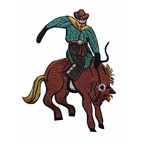 435feaf3baff8 ID 1331 Cowboy Riding Bucking Horse Patch Rodeo Embroidered Iron On Applique