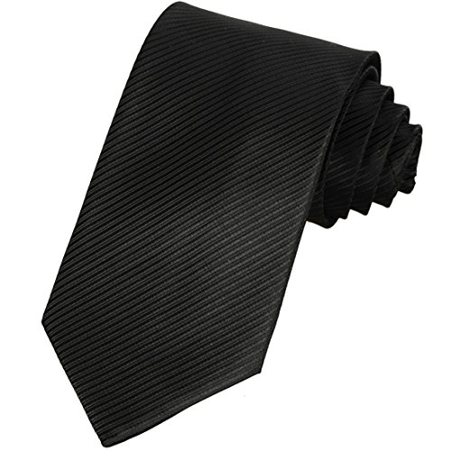 KissTies Mens Jet Black Tie Striped Business Necktie + Gift Box (Formal Black Tie)