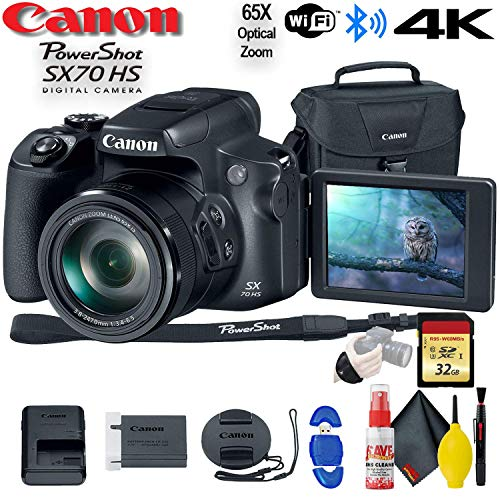 Canon PowerShot SX70 HS Digital Camera (3071C001) – with 32GB Memory Card, Bag, Cleaning Kit, and More