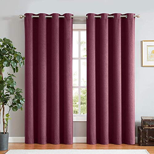 ECODECOR Thermal Insulated Curtain Drapes for Bedroom Vintage Red Paisley Embossed 100 Blackout Curtains 84inches Energy Efficient Window Treatment Set for Nursery Room 1 Pair Wine Grommet - Suede Window Panel Set