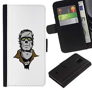 All Phone Most Case / Oferta Especial Cáscara Funda de cuero Monedero Cubierta de proteccion Caso / Wallet Case for Samsung Galaxy S5 Mini, SM-G800 // Punk Frankenmonster