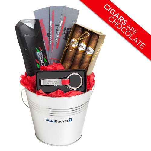 Gift Basket Ideas for Men – Valentine's Day or Anniversary or Just Because Gift for Men Birthday Baskets for Him Boyfriend Husband- Chocolate Cigars Keychain Bottle Opener Axe Spray - Speedy Delivery (Valentine Baskets For Men)