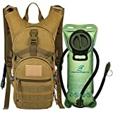 Tactical MOLLE Hydration Pack Backpack 900D with 2L Leak-Proof Water Bladder, Keep Liquids Cool for Up to 4 Hours, Outdoor Daypack for Cycling, Hiking, Running, Climbing, Hunting, Desert Clay