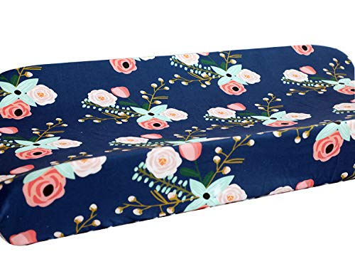Sahaler Baby Girl Crib Bedding Floral Changing Pad Cover (Navy Floral)