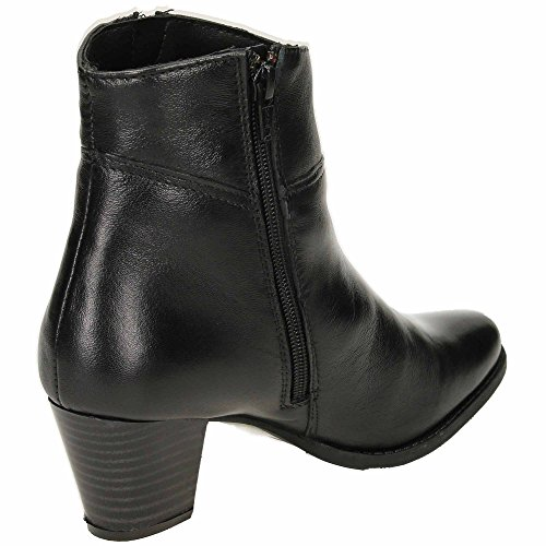 jwf Comfort Plus Wide Fitting Leather Block Heeled Ankle Boots Black RqgwP