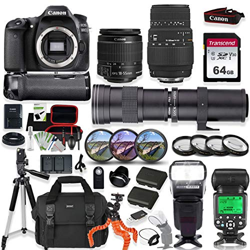 Canon EOS 80D DSLR Camera with 18-55mm STM Lens, Sigma 70-300mm & 420-800mm Telephoto Lens Kit with Prime Accessory Bundle