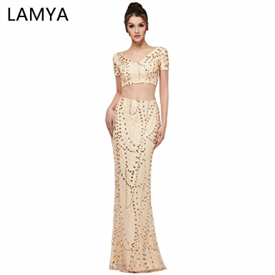Lamya Elegant Women Evening Dresses Sexy Blackless Plus Size Prom Gown 2018