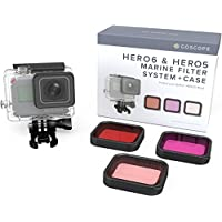 GoScope HERO6 Red Filter (Fits: GOPRO HERO/HERO5/HERO6) PREMIUM LASER CUT CONTRAST ENHANCEMENT GLASS (Snorkel, Magenta, Red) Colorful & Vivid Underwater Video/Pictures (INCLUDES 60M HOUSING)