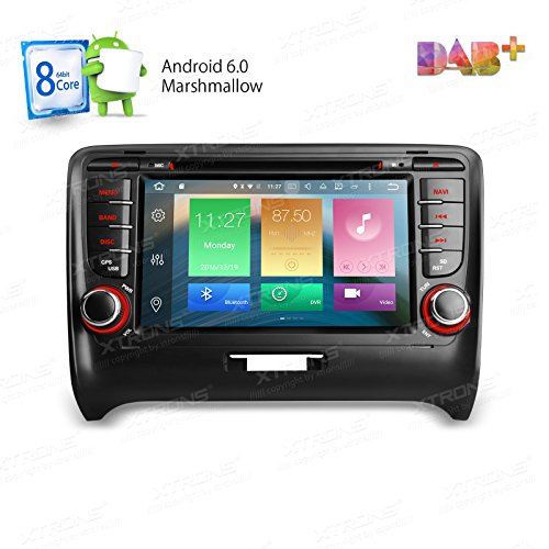 XTRONS Android 6.0 Octa-Core 64Bit 2G RAM 32GB ROM 7 Inch Capacitive Touch Screen Car Stereo Radio DVD Player GPS CANbus Screen Mirroring Function OBD2 Tire Pressure Monitoring for Audi TT MK2 by XTRONS