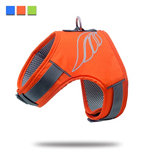 Wellbro No Pull Dog Harness, Mesh Dog Vest Harness, Soft Padded and Reflective, With Adjustable Snap Buckles, For Small, Medium and Large Pets (Medium,Orange)