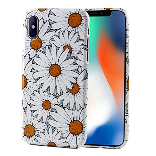 iPhone X XS Case for Girls, Deenor White Sunflower Cute Vintage Pastoral Series Soft Slim Full Protective Shell Case Cover with Vintage Rose Floral Pattern for iPhone X XS 5.8 Inch.