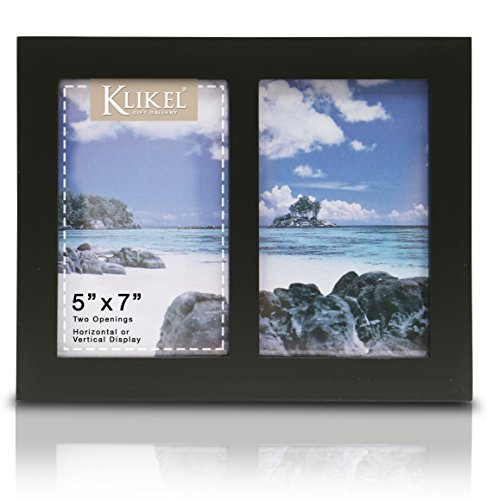 Klikel Photo Collage Frame | Black Wooden Wall Frame | 2 Openings - 5x7 Pictures | Decorative Family Picture Frame