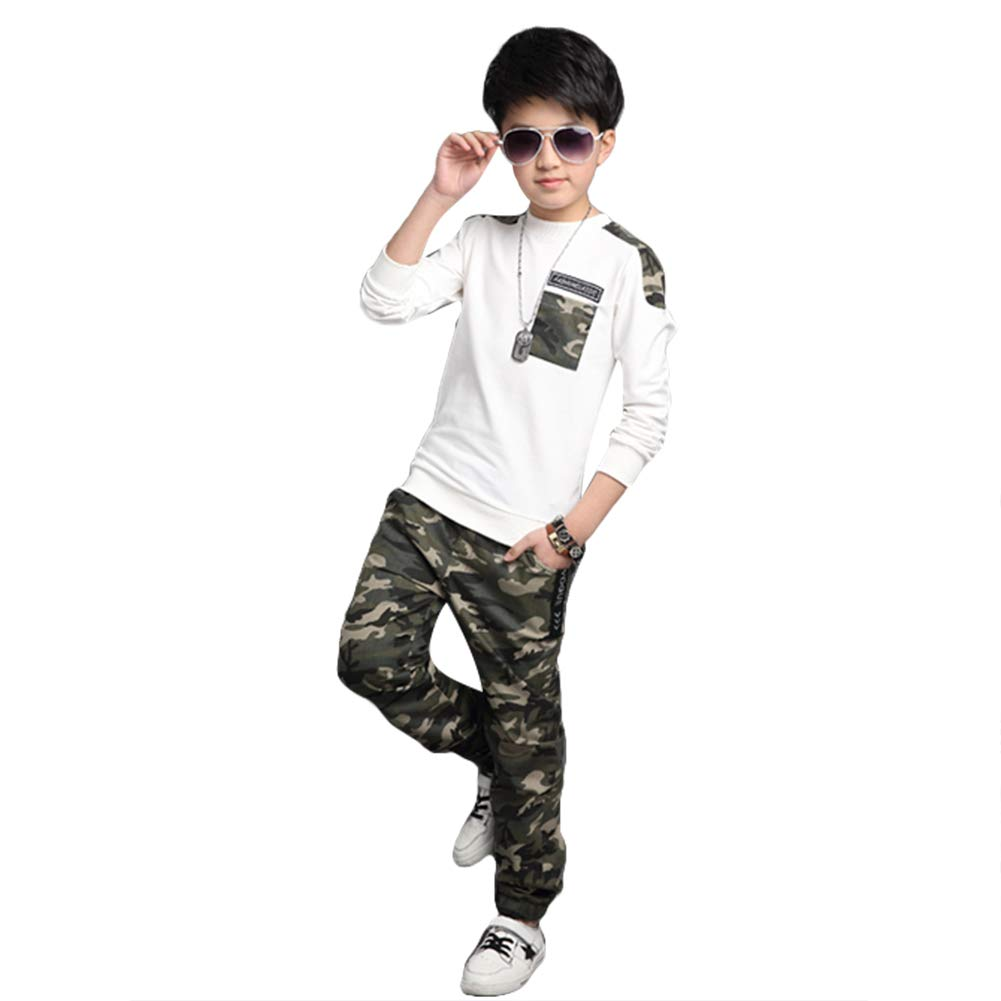 LOLANTA T-Shirt Pantaloni Manica Lunga Mimetica per Ragazzi Camicie da Ballo Insieme Hip-Hop