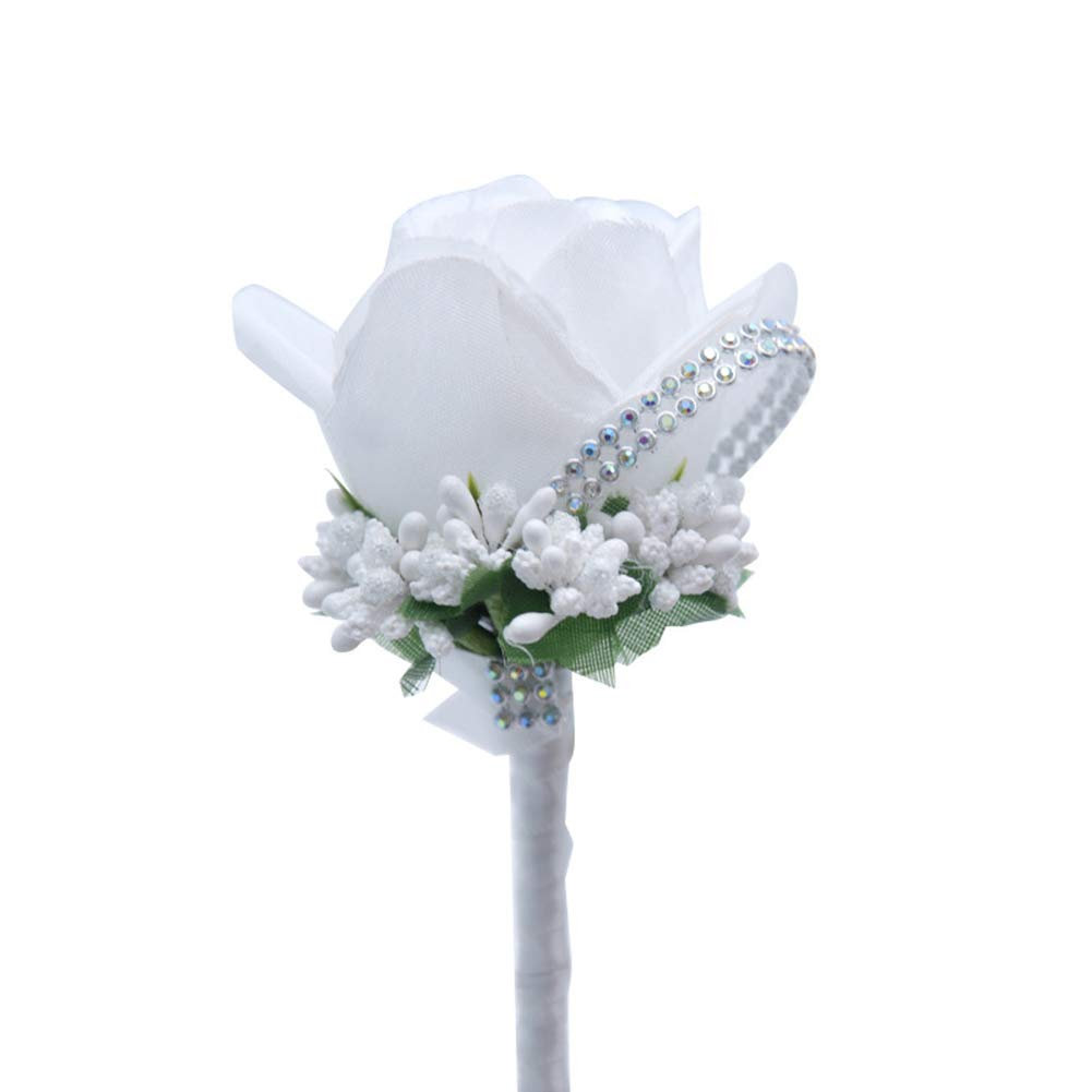 ink2055 Exquisite Cloth Rose Faux Flower Brooch Pin Decor Groom Bridal Wedding Ornament - White