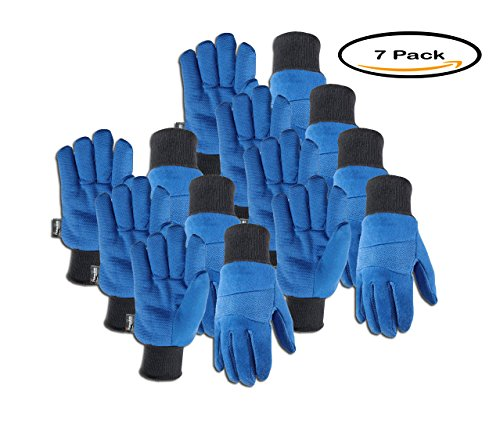 Hob Nob Dots (PACK OF 7 - Wells Lamont Insulated Thinsulate Jersey Cold Weather Work Gloves, Blue)