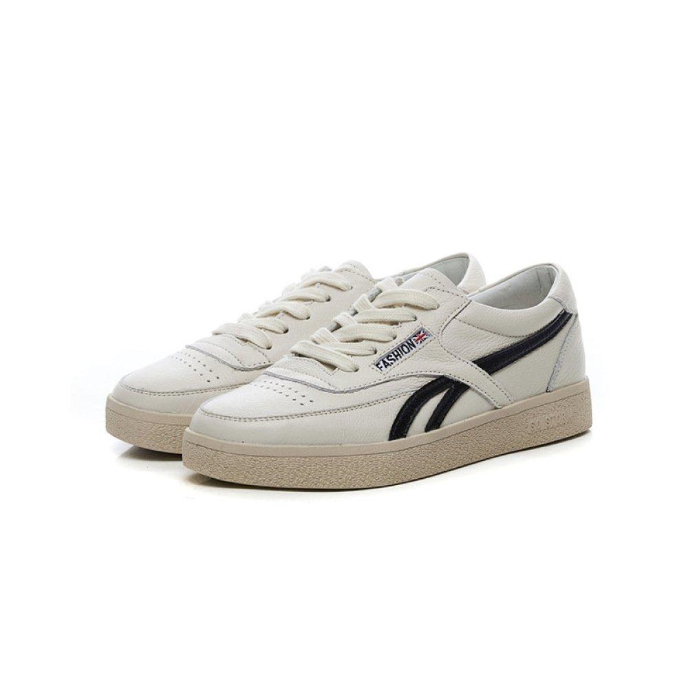 SBL Piccole scarpe bianche moda scarpe da donna casual in pelle piattaforma scarpe sportive scarpe stringate anteriori scarpe da donna,Nero,35 Nero