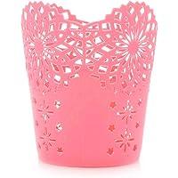 Laat Multifunktionsbehälter, Blumentopf aus Kunststoff, Stifte-/Pinselhalter, Blumen-Design, hohl, Make-up-Organizer
