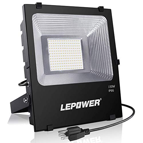 100w Flood - LEPOWER New Craft 150W LED Flood Light, 11000lm Super Bright Work Lights with Plug, 6500K White Light, IP66 Waterproof Outdoor Floodlights Fixtures for Garage, Playground, Basketball Court, Yard