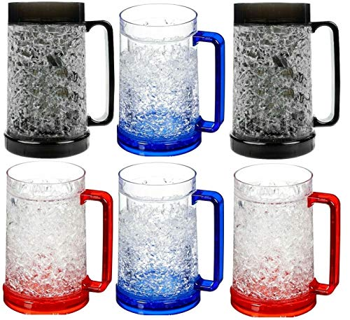 6x Acrylic Double Wall Freezer Frosty Mugs 16 oz Cold Beer Stein Chilled Frozen Drink ()