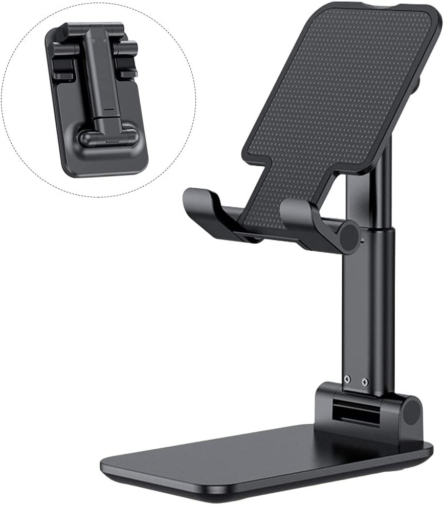 Cell Phone Stand Fully Foldable Desktop Phone Holder Angle Height Adjustable Cradle Compatible with iPhone iPhone Android Mobile Phone Kindle Tablet (Black)
