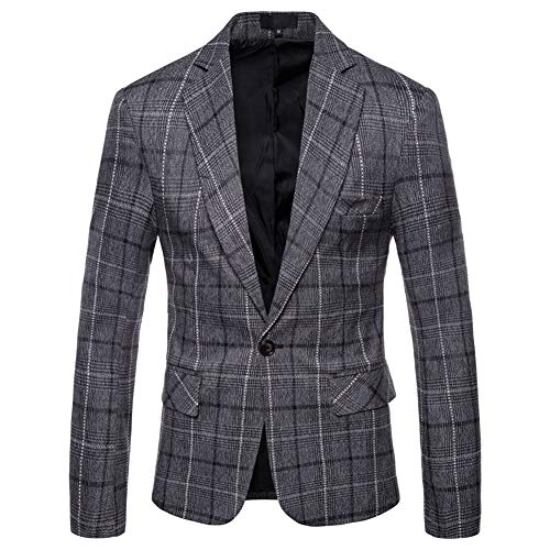 Mens Dress Plaids Suit Notched Lapel One Button Stylish Casual Blazer Jacket Dark Gray ()
