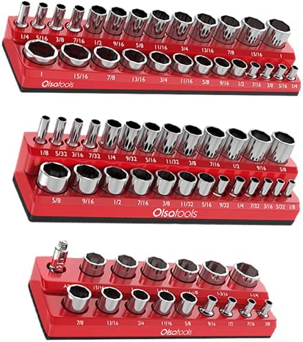 Holds 120 SAE Sockets 3 Piece 1//4 Inch Drive and 1//2 Inch Drive OEMTOOLS 22339 Green 3-Rail SAE Socket Tray Set Deep and Shallow Socket Organizers for Toolboxes 3//8 Inch Drive