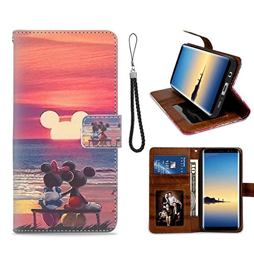 DISNEY COLLECTION Compatible Samsung Galaxy S7 Wallet Phone Case Mickey Mouse Sunset Drop Protection Premium PU Leather Folio Flip Cover Kickstand with ID&Credit Card Slot