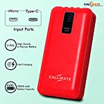 CALLMATE Portable Charger, 20000 mAH Li-Polymer Digital Display Power Bank with inbuilt 4 in 1 Cable USB Input Port (RED…
