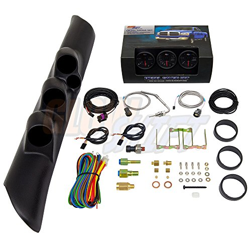 GlowShift Diesel Gauge Package for 1998-2002 Dodge Ram Cummins 2500 3500 - Black 7 Color 60 PSI Boost, 1500 Pyrometer EGT & 30 PSI Fuel Pressure Gauges - Black Triple Pillar Pod w Speaker Cutout
